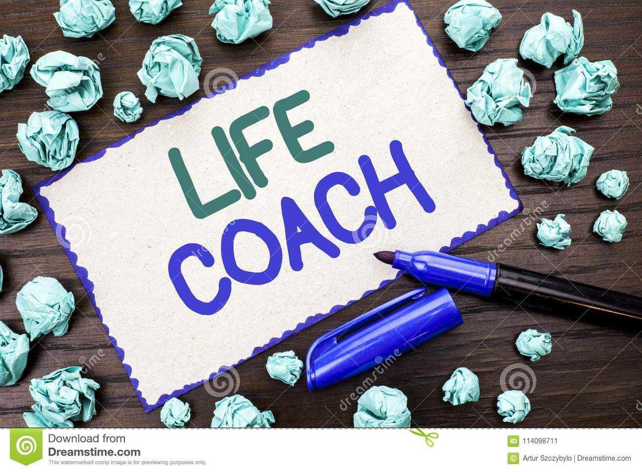 Writing note showing Life Coach. Business photo showcasing Mentoring Guiding Career Guidance Encourage Trainer Mentor written on