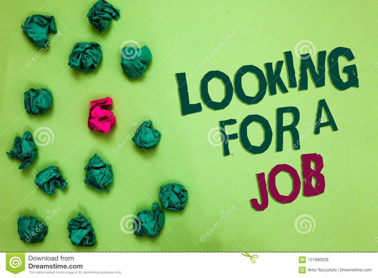Writing note showing Looking For A Job. Business photo showcasing Unemployed seeking work Recruitment Human Resources Olive color