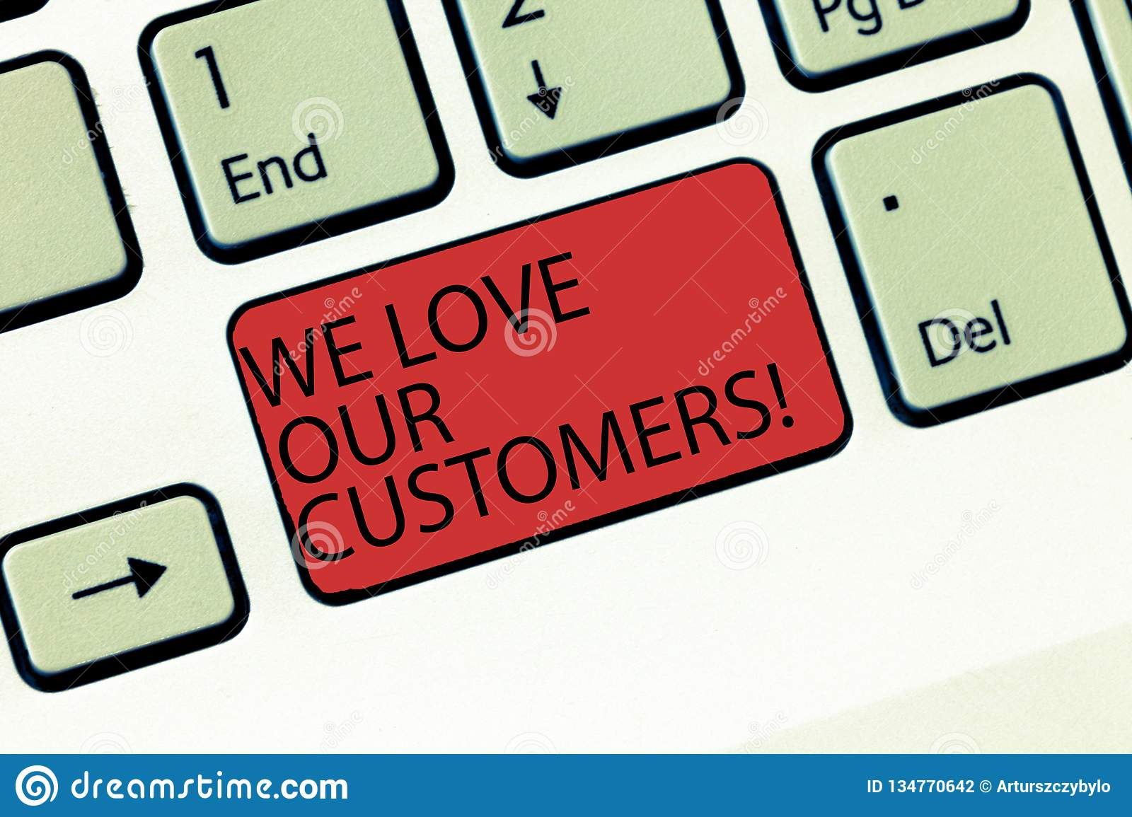 Writing note showing We Love Our Customers. Business photo showcasing Appreciation for clients good customer service