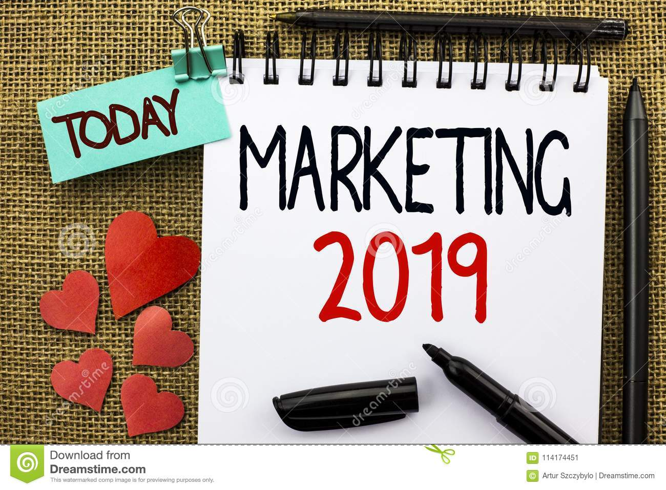 Writing Note Showing Marketing 2019  Business Photo