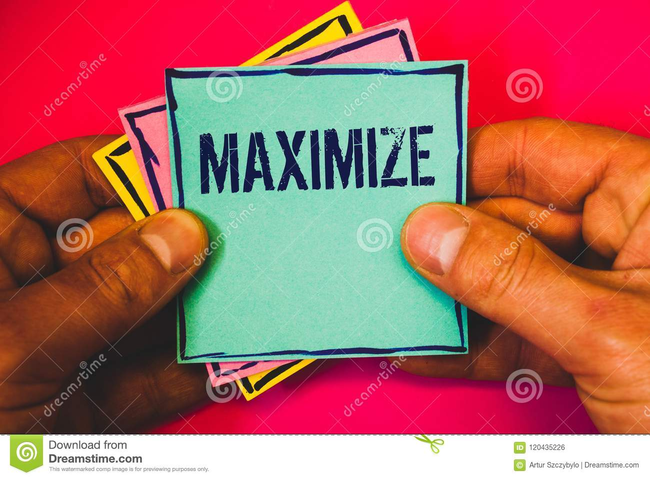 Writing note showing Maximize. Business photo showcasing Increase to the greatest possible amount or degree Make larger Small mult