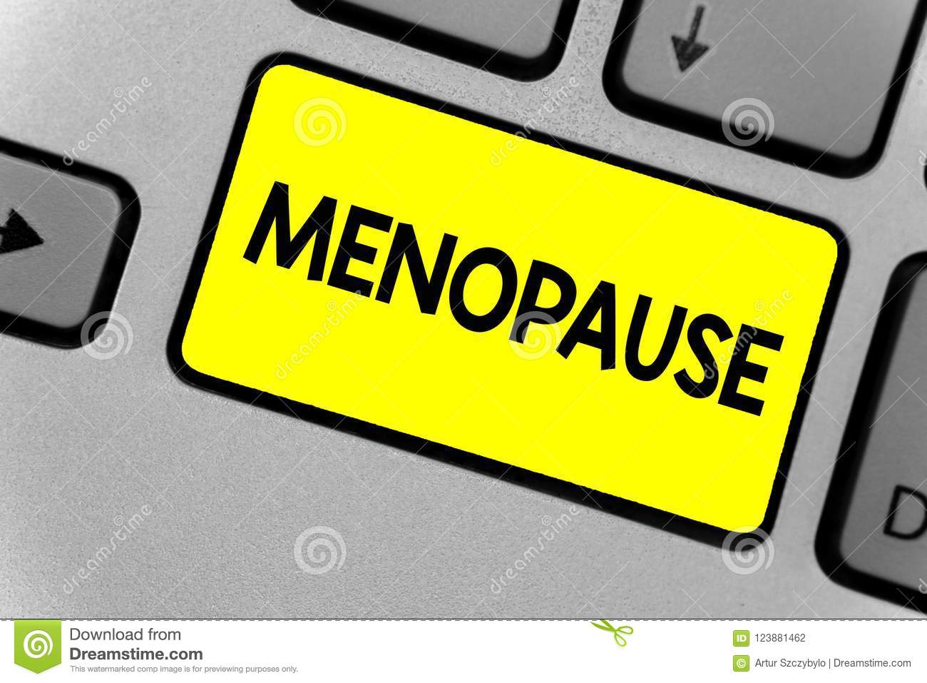 Writing note showing Menopause. Business photo showcasing Period of permanent cessation or end of menstruation cycle Keyboard yell
