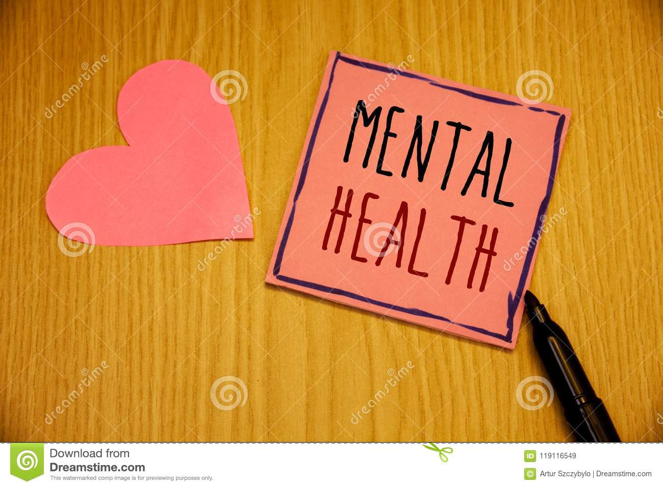 Writing note showing Mental Health. Business photos showcasing Psychological and Emotional Condition Wellbeing of a person