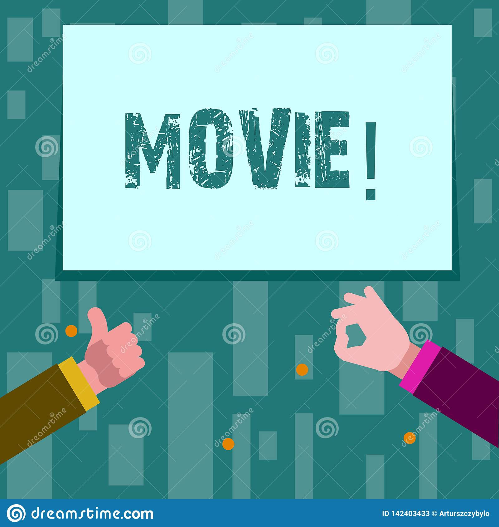 Writing note showing Movie. Business photo showcasing Cinema or television film Motion picture Video displayed on screen