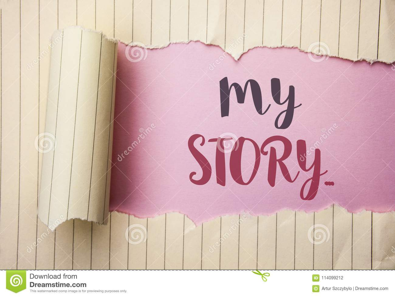 Writing note showing My Story.... Business photo showcasing Biography Achievement Personal History Profile Portfolio written on t