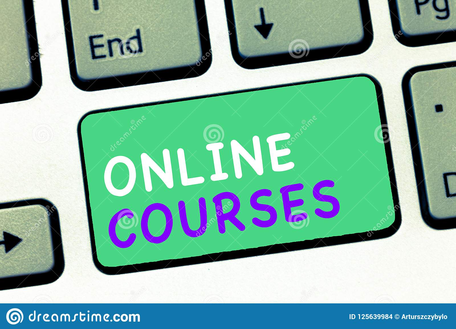 Writing note showing Online Courses. Business photo showcasing Revolutionizing formal education Learning through internet