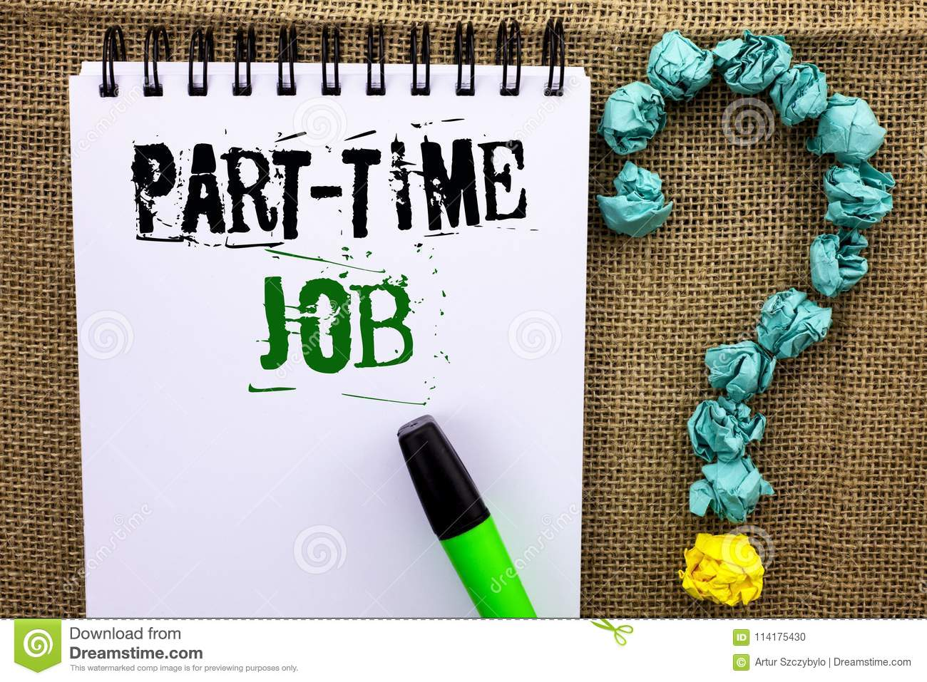 Writing Note Showing Part Time Job  Business Photo