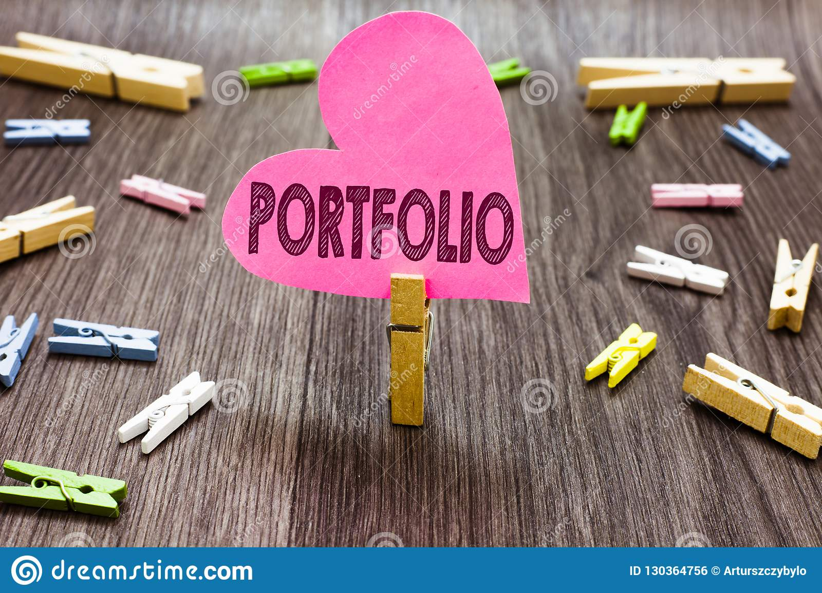 Writing note showing Portfolio. Business photo showcasing Examples of work used to apply for a job Combination of shares