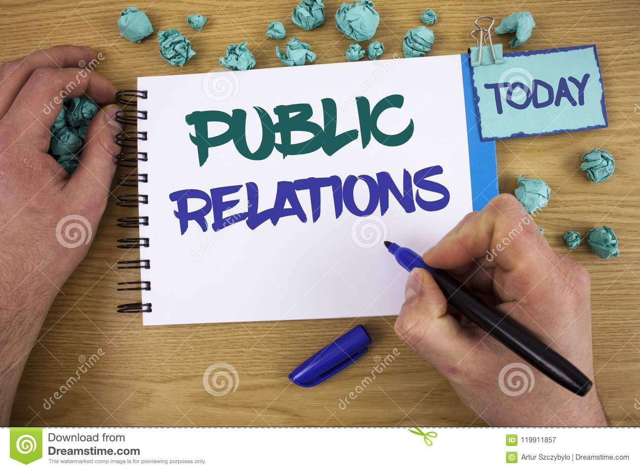 Writing note showing Public Relations. Business photo showcasing Communication Media People Information Publicity Social Text two