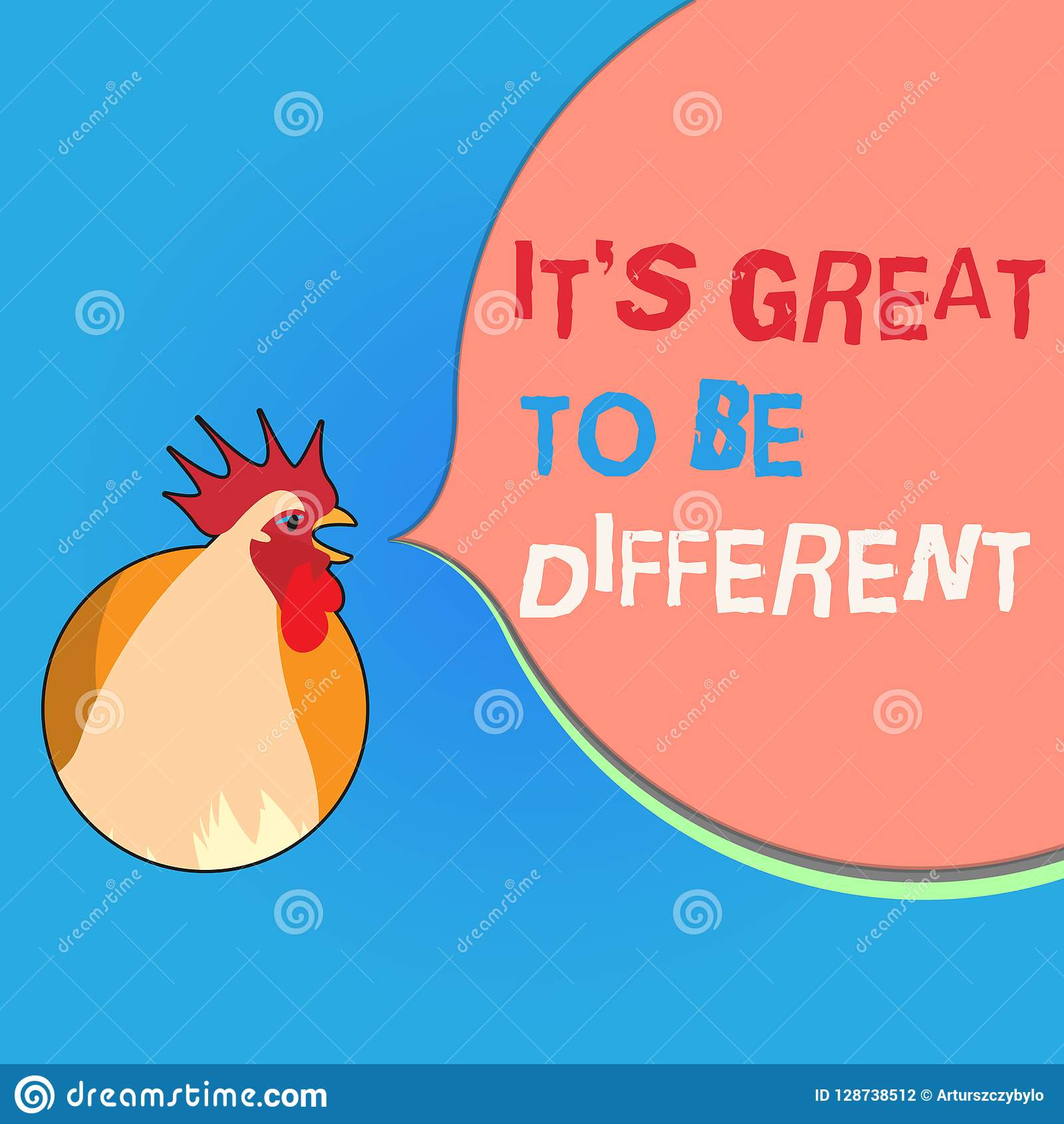 Writing note showing It s is Great To Be Different. Business photo showcasing Embrace your individuality and uniqueness