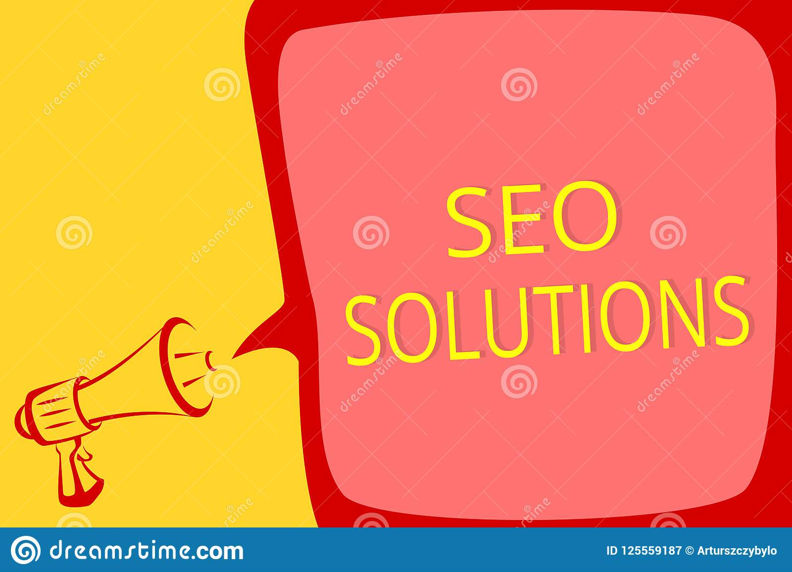 Writing note showing Seo Solutions. Business photo showcasing Search Engine Result Page Increase Visitors by Rankings Megaphone lo