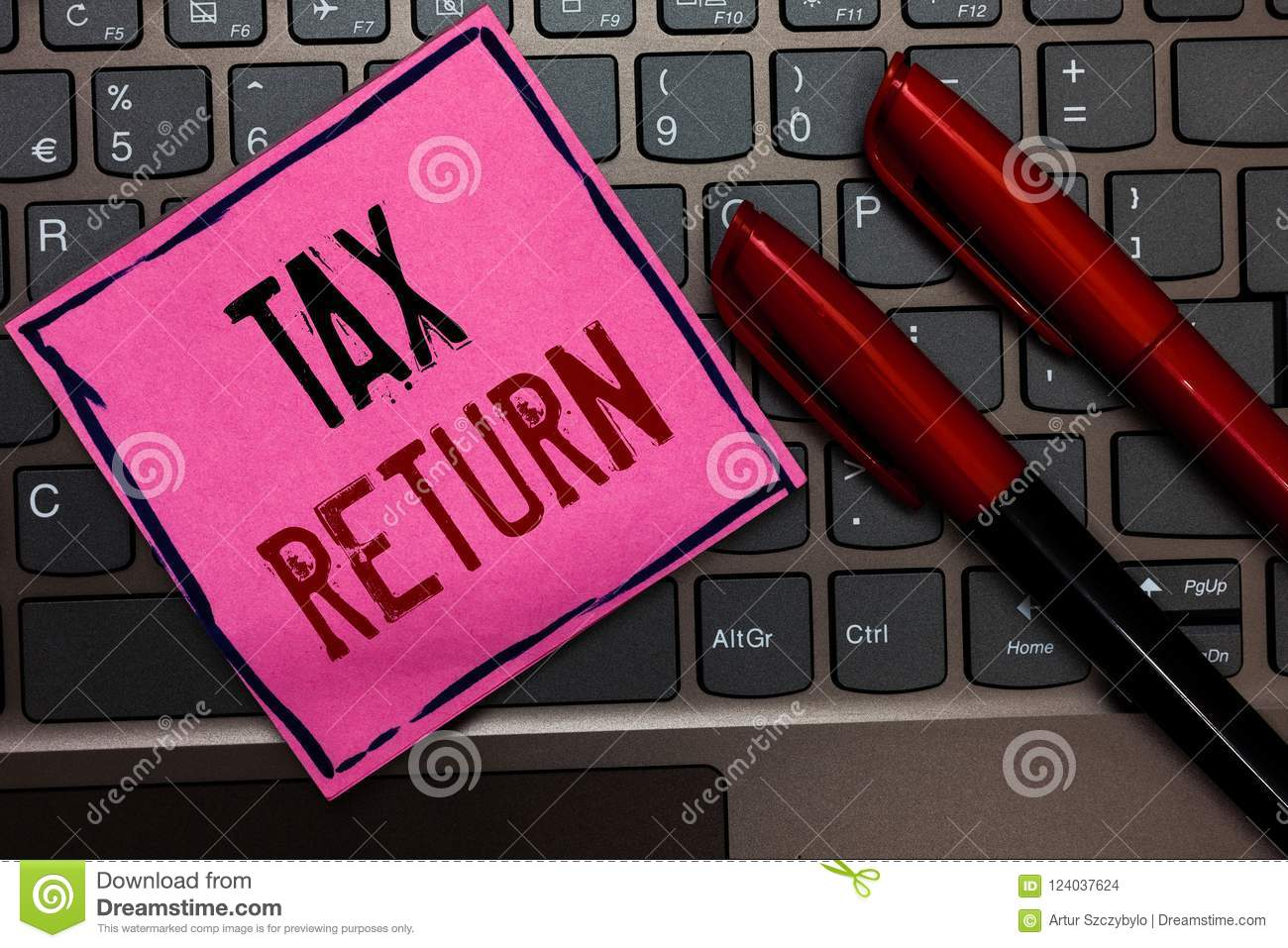Writing note showing Tax Return. Business photo showcasing which taxpayer makes annual statement of income circumstances Pink pape