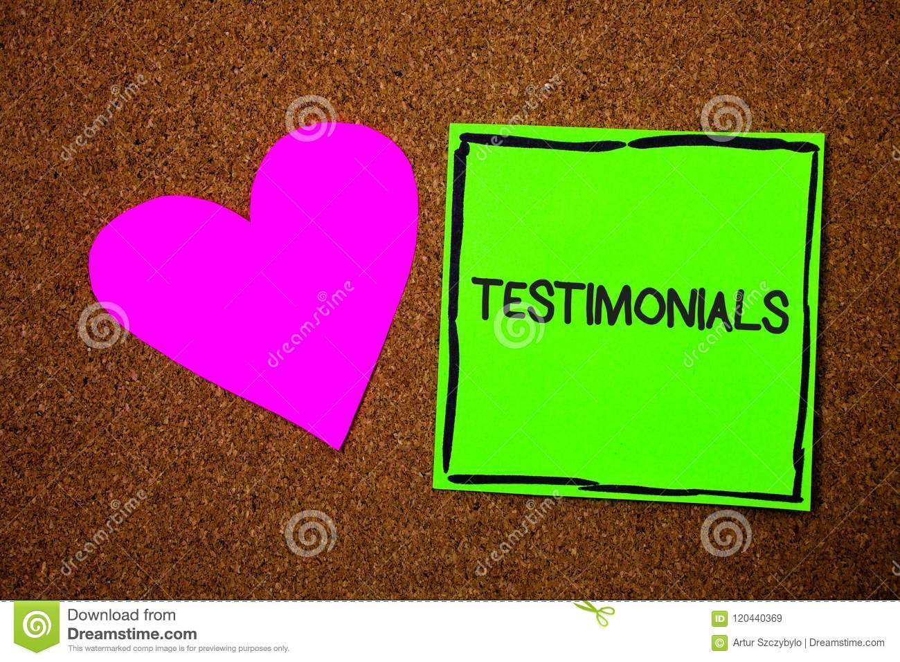 Writing note showing Testimonials. Business photo showcasing Customers formal endorsement statement experience of someone Love bro