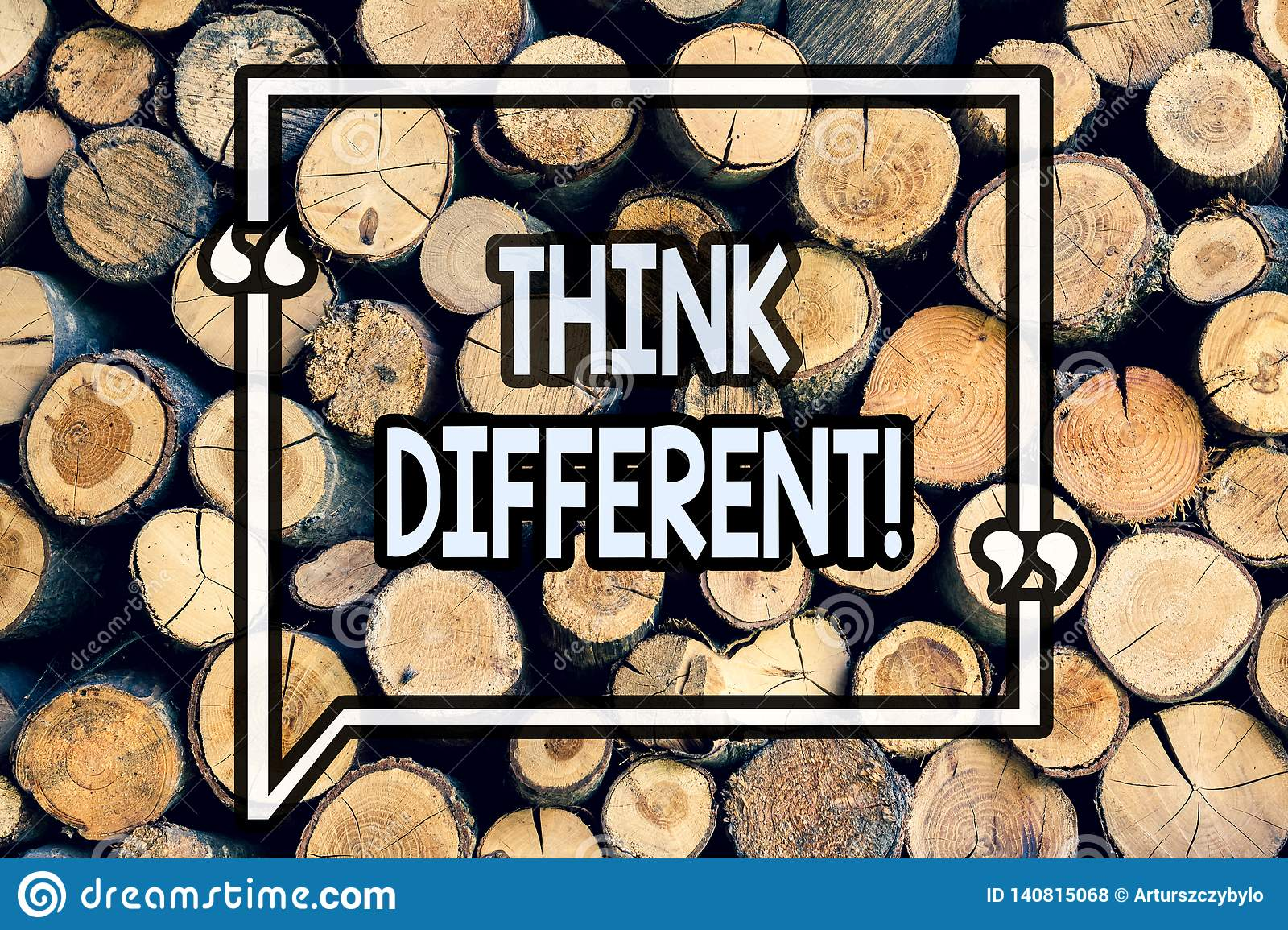 Writing note showing Think Different. Business photo showcasing Rethink Change on vision Acquire New Ideas Innovate Wooden