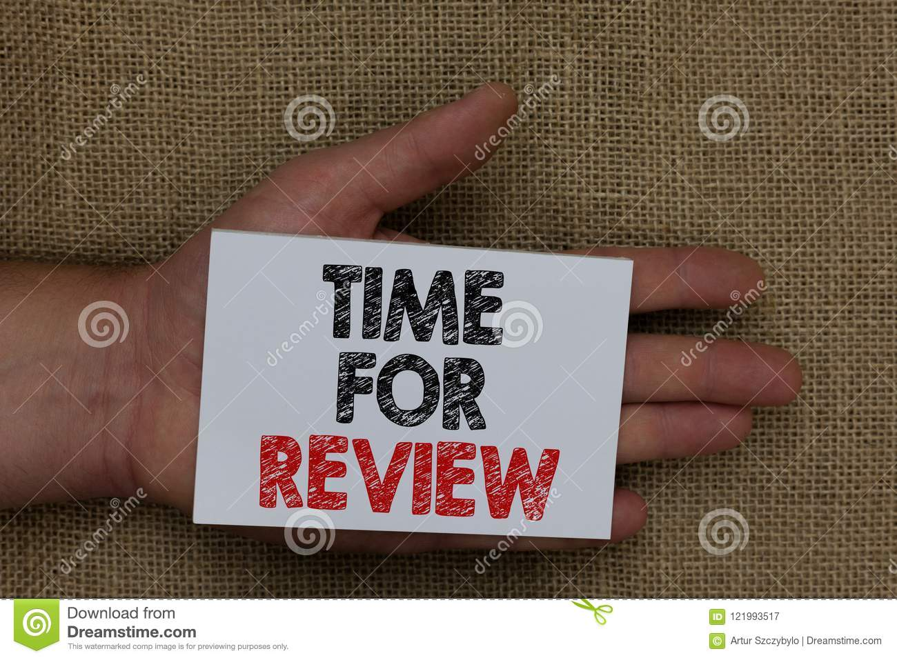 Writing note showing Time For Review. Business photo showcasing Evaluation Feedback Moment Performance Rate Assess Human hand hold