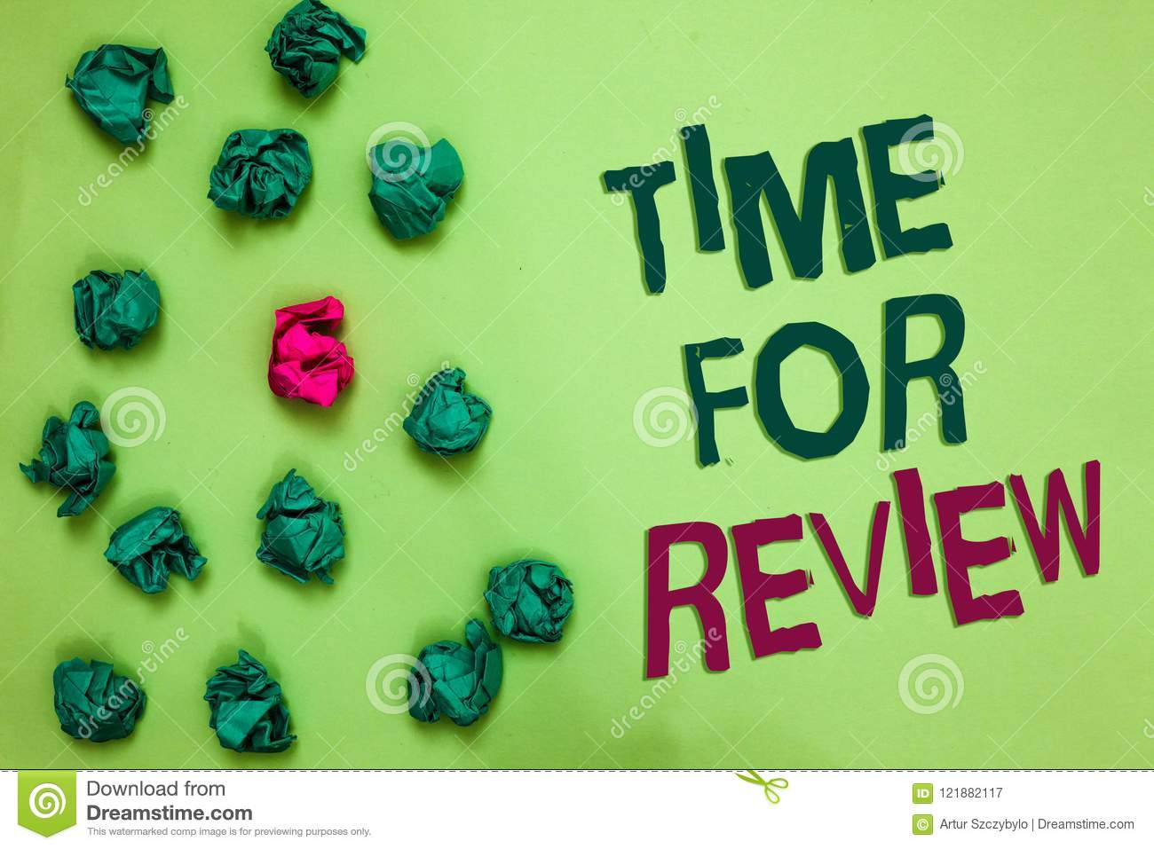 Writing note showing Time For Review. Business photo showcasing Evaluation Feedback Moment Performance Rate Assess Olive color flo