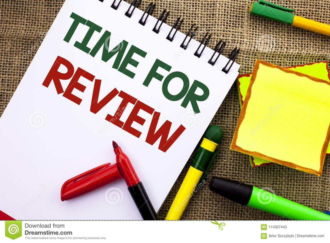 Writing note showing Time For Review. Business photo showcasing Evaluation Feedback Moment Performance Rate Assess written on Not