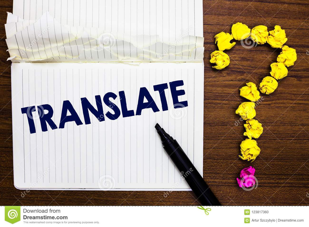Writing Note Showing Translate Business Photo Showcasing Another