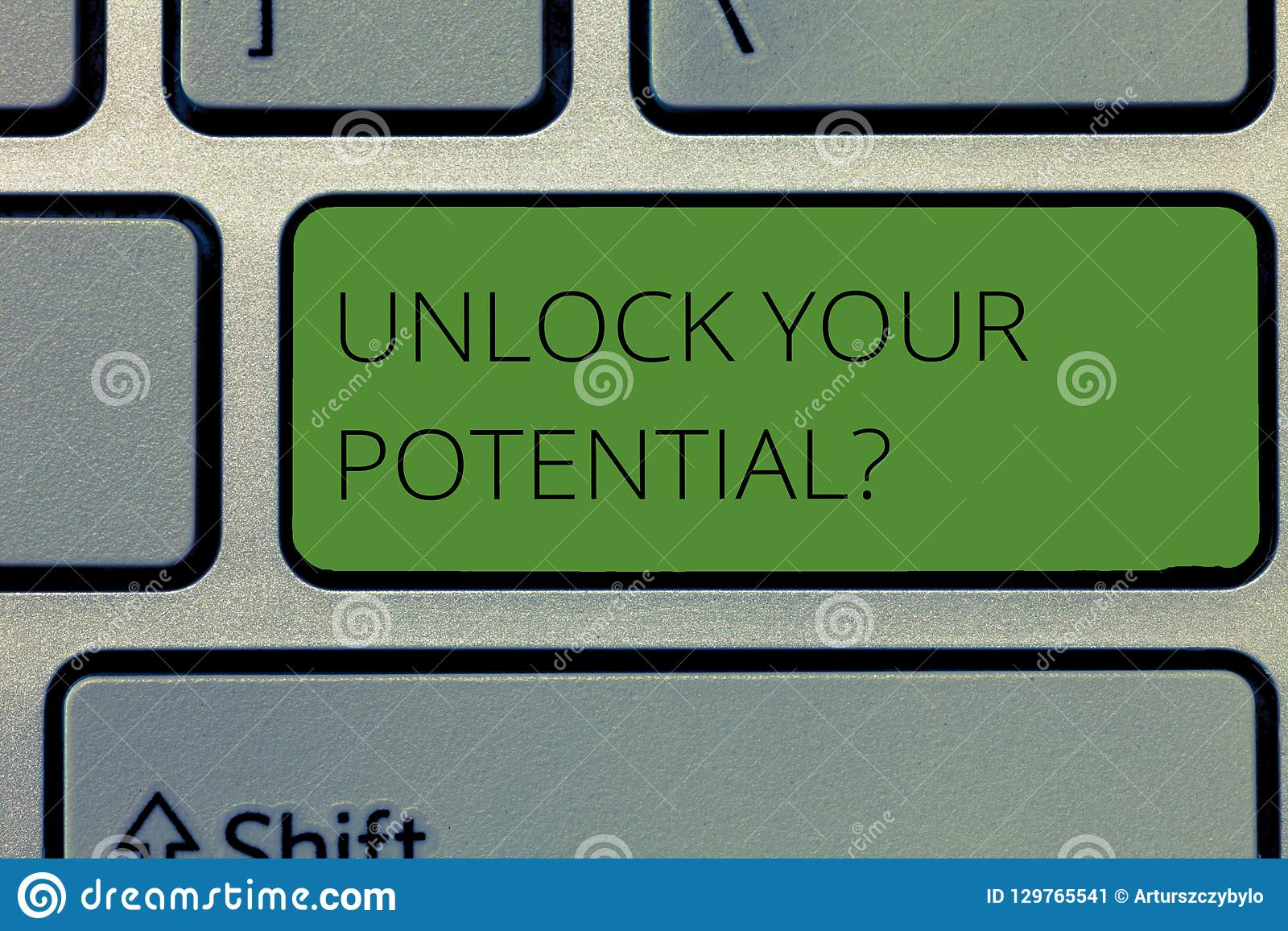 Writing note showing Unlock Your Potential question. Business photo showcasing Maximize your Ability Use God given gift