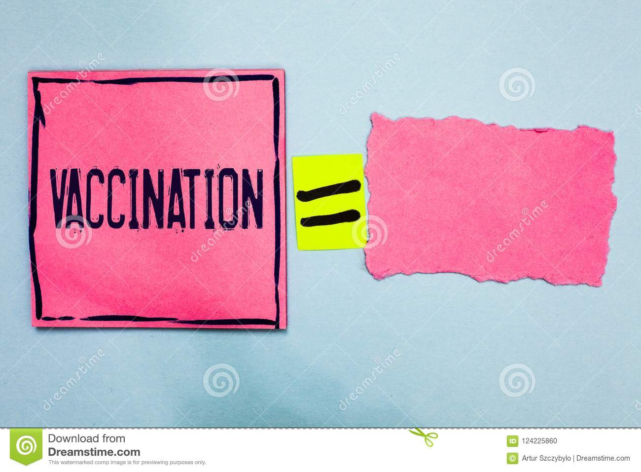 Writing note showing Vaccination. Business photo showcasing Treatment which makes the body stronger against infection Pink paper n