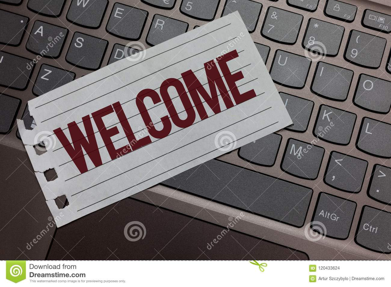Writing note showing Welcome. Business photo showcasing Warm salutation acknowledgement for someone amiable loved thanked Keyboard
