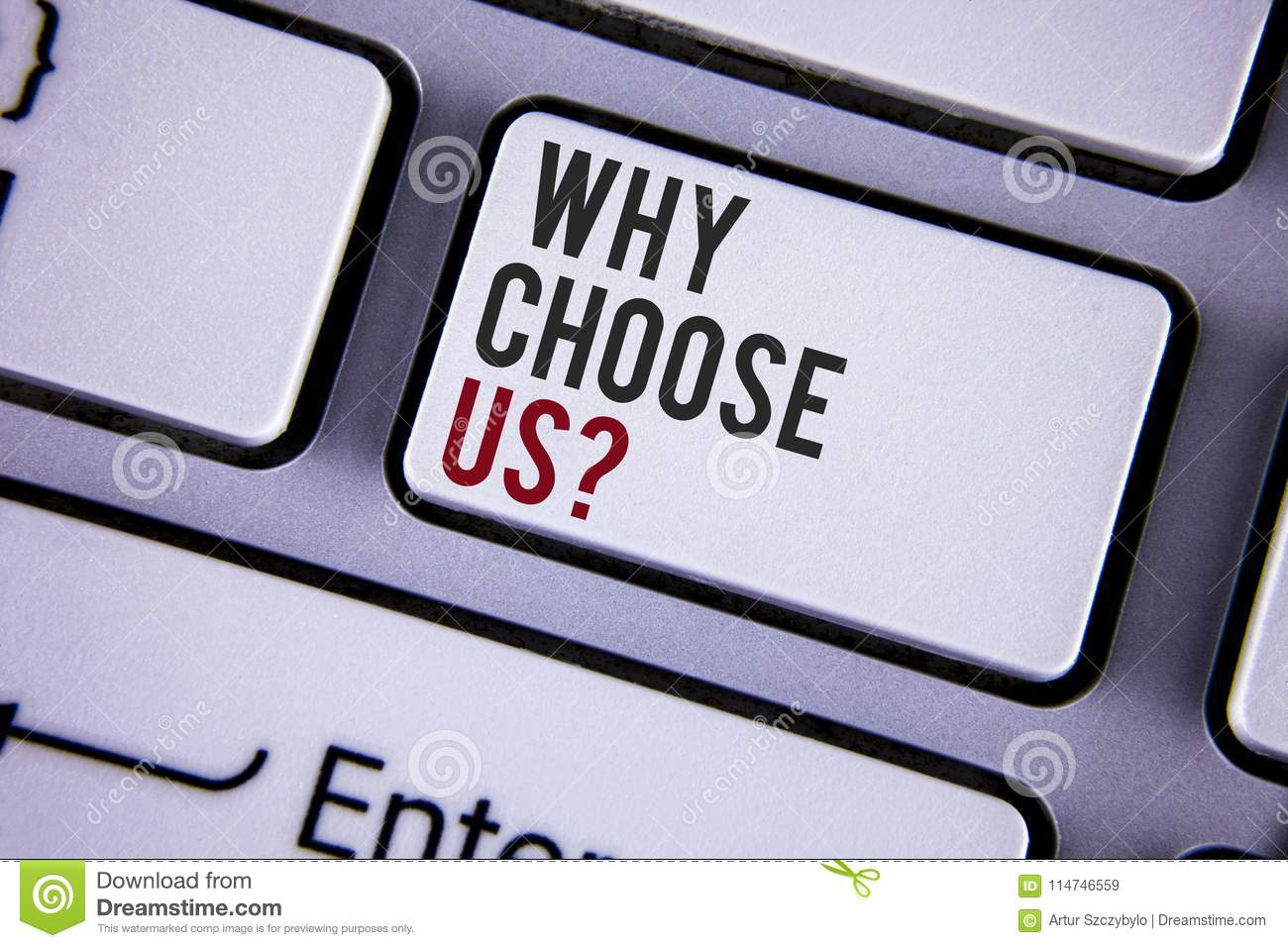Writing note showing Why Choose Us Question. Business photo showcasing Reasons to select our Services Products or Offers written