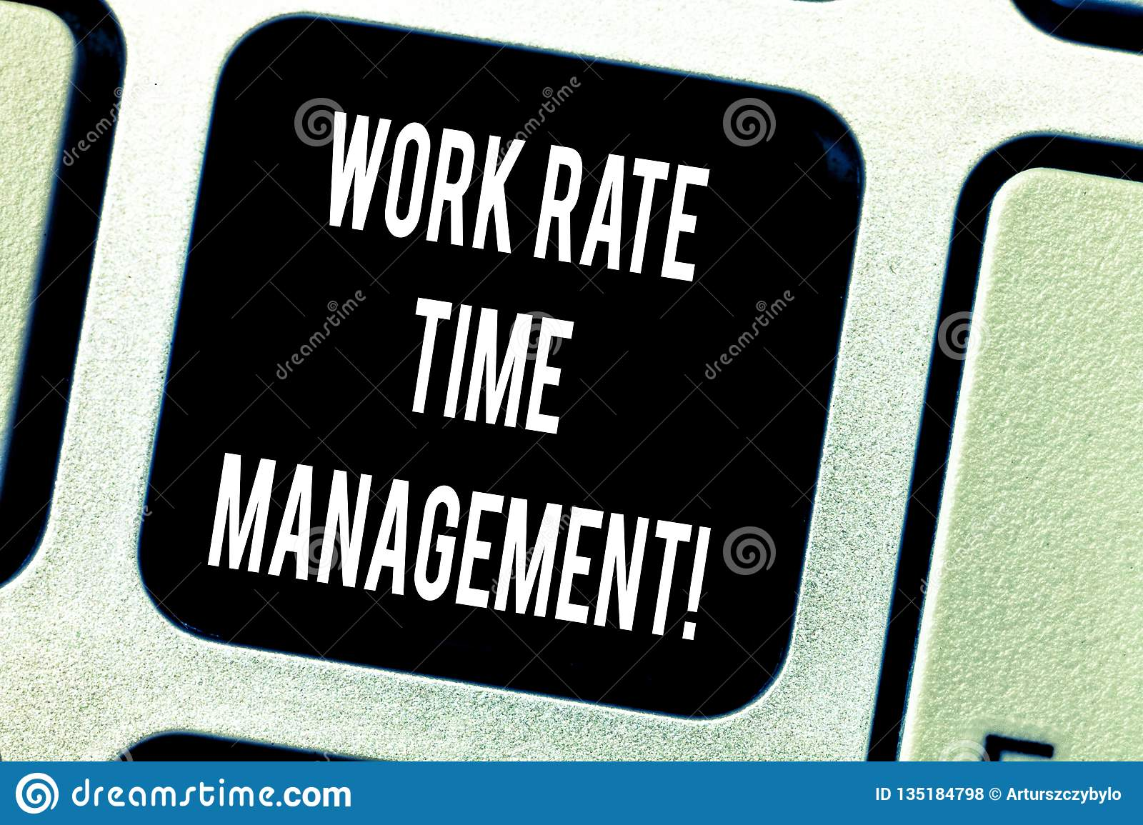 Writing note showing Work Rate Time Management. Business photo showcasing Managing schedules and work planning schemes