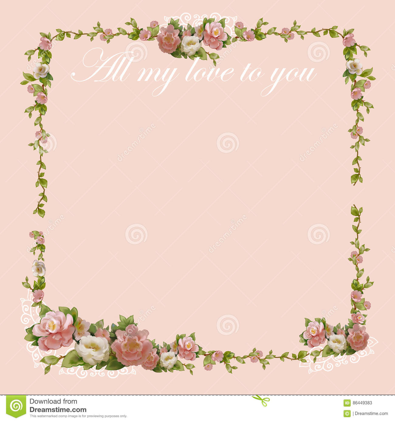 Writing Paper With A Beautiful Flowers Frame Stock Illustration