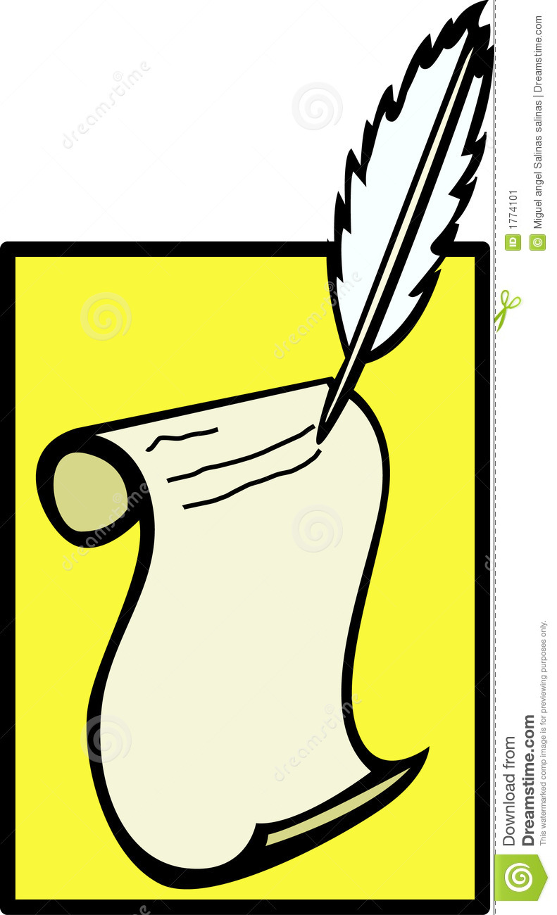 writing in paper with a feather quill pen vector stock vector