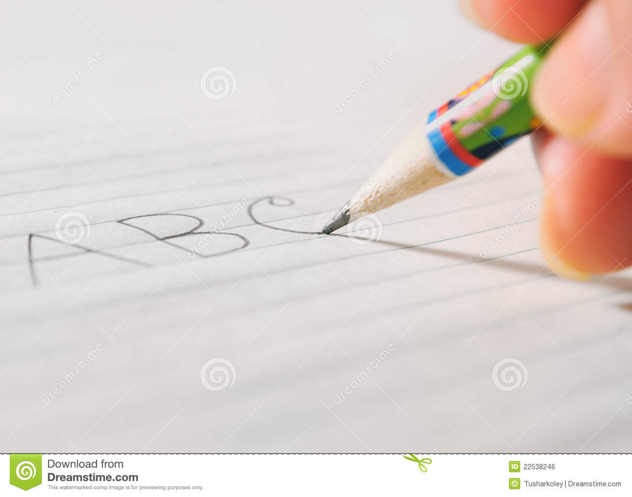 writing on a paper by a pencil stock photo - image of drawing
