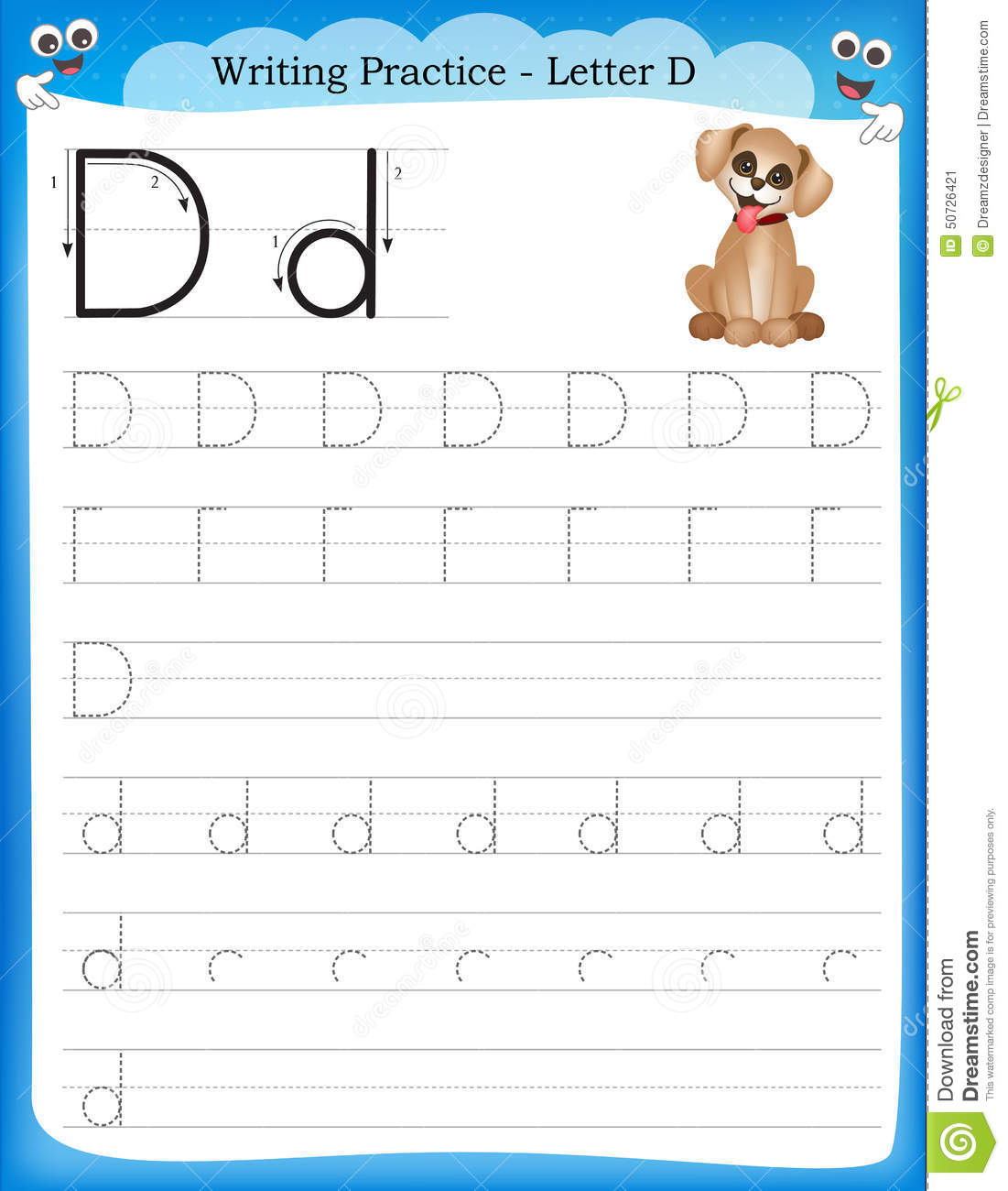 Writing practice letter D printable worksheet for preschool ...