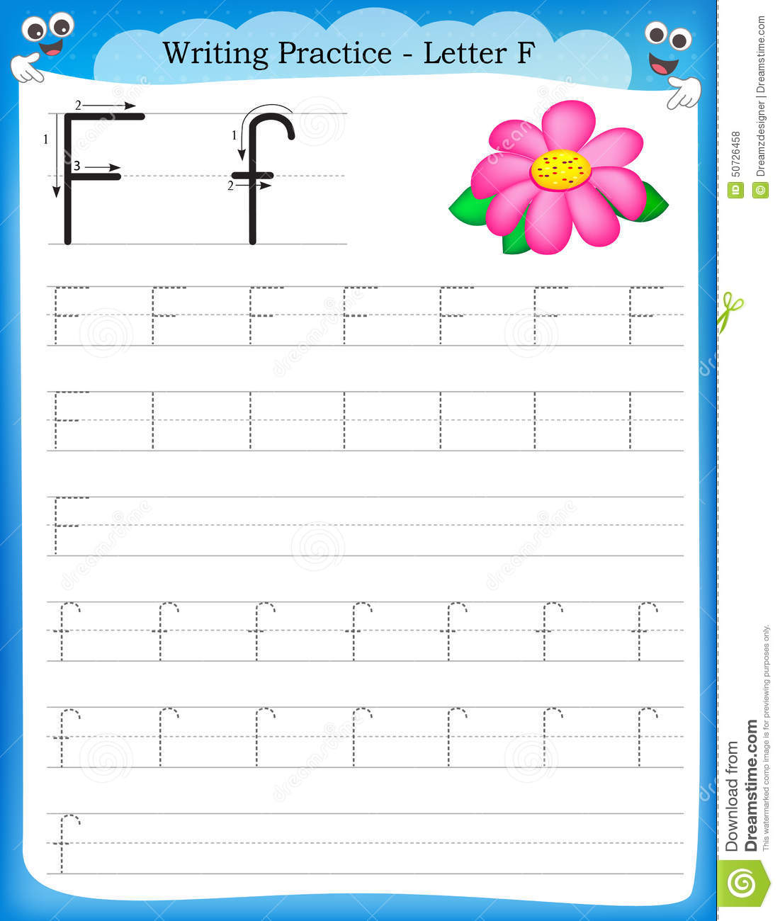 practice letter F printable worksheet for preschool / kindergarten ...