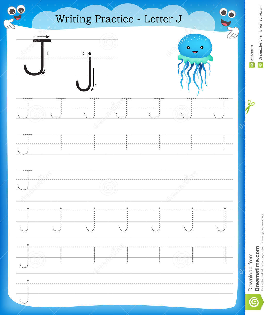 Writing practice letter J printable worksheet for preschool ...