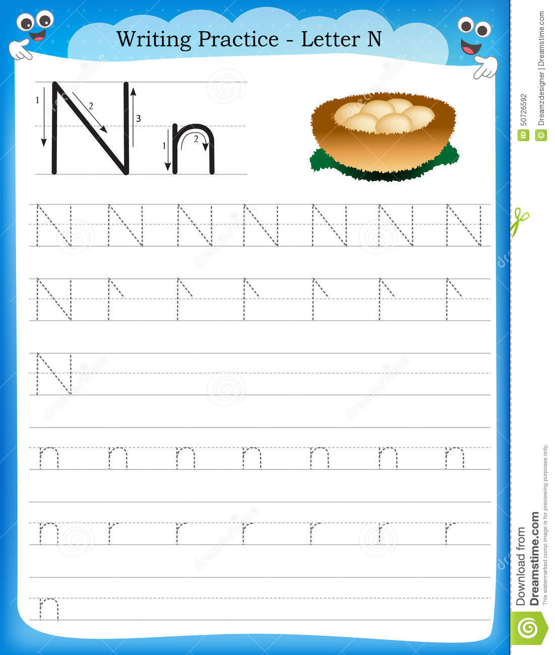 math worksheet : writing practice letter n stock vector  image 50726592 : Letter N Worksheets Kindergarten