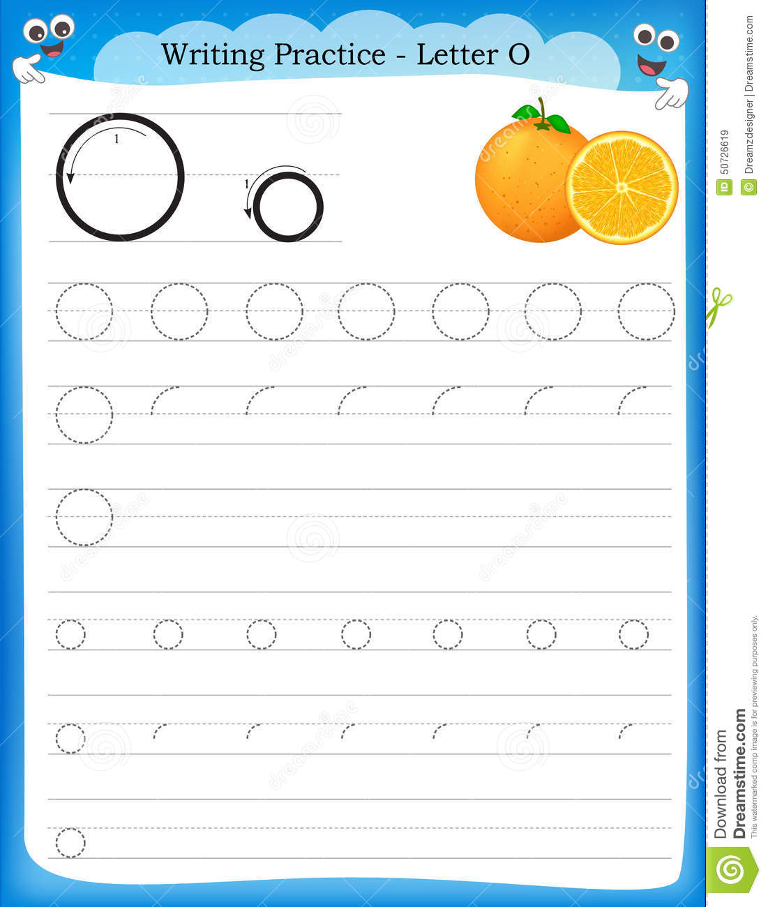 practice letter O printable worksheet with clip art for preschool ...
