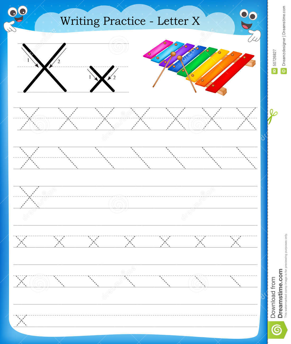 Writing practice letter X printable worksheet with clip art for ...