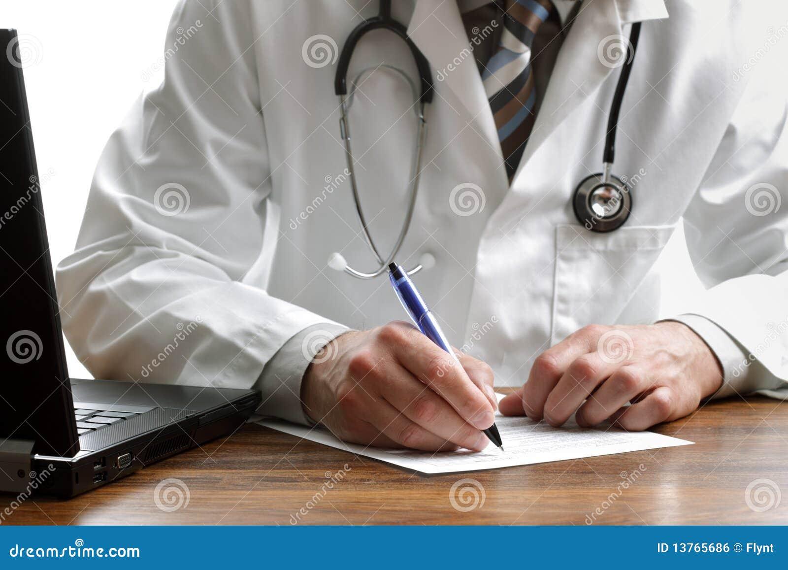 Writing a prescription or medical examination