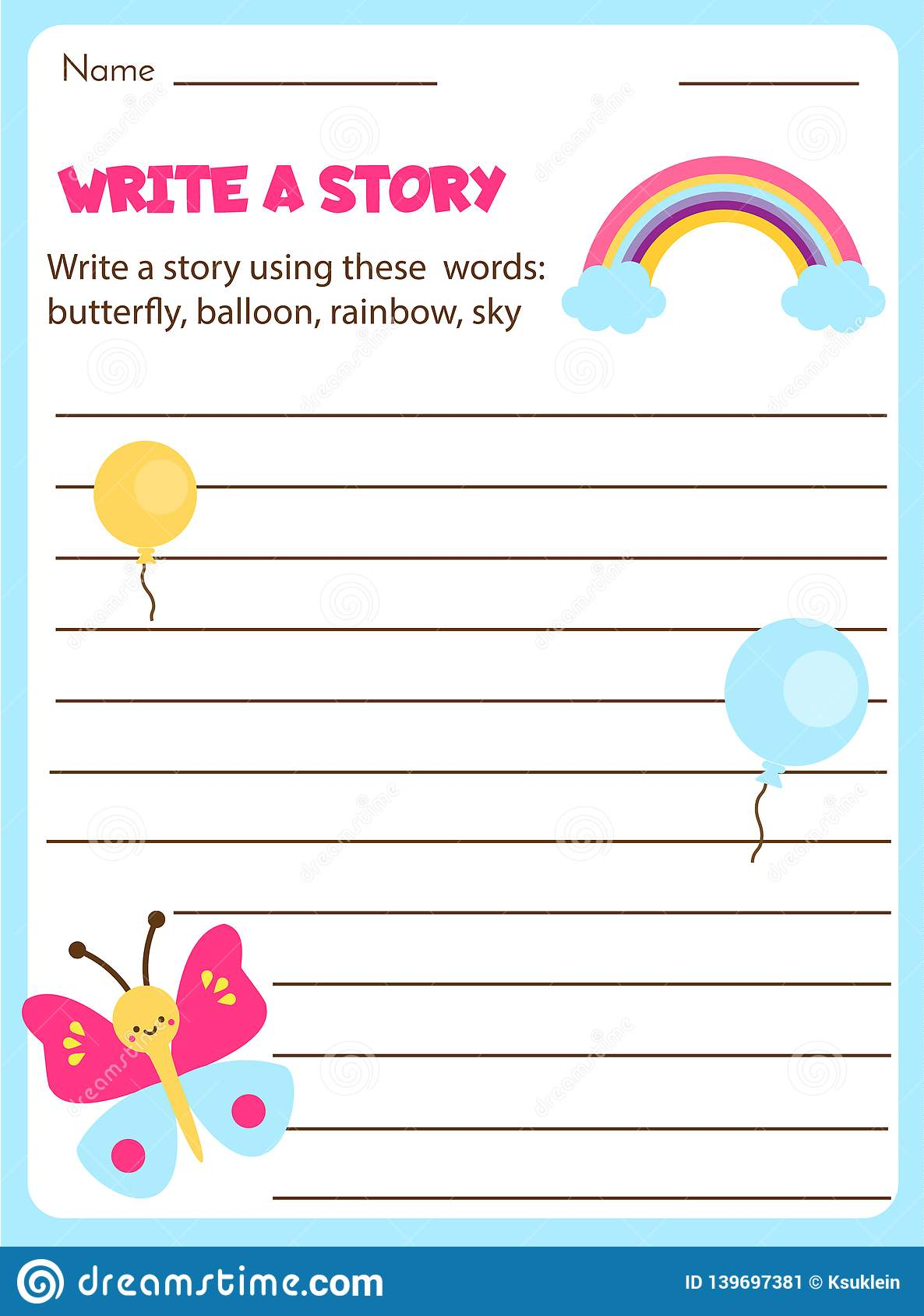 Writing Prompt For Kids Blank. Educational Children Page ...