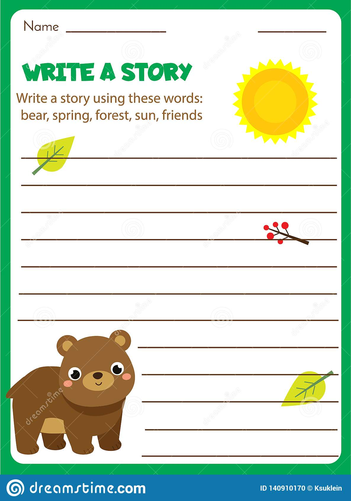 Writing Prompt For Kids Blank  Educational Children Page  Develop