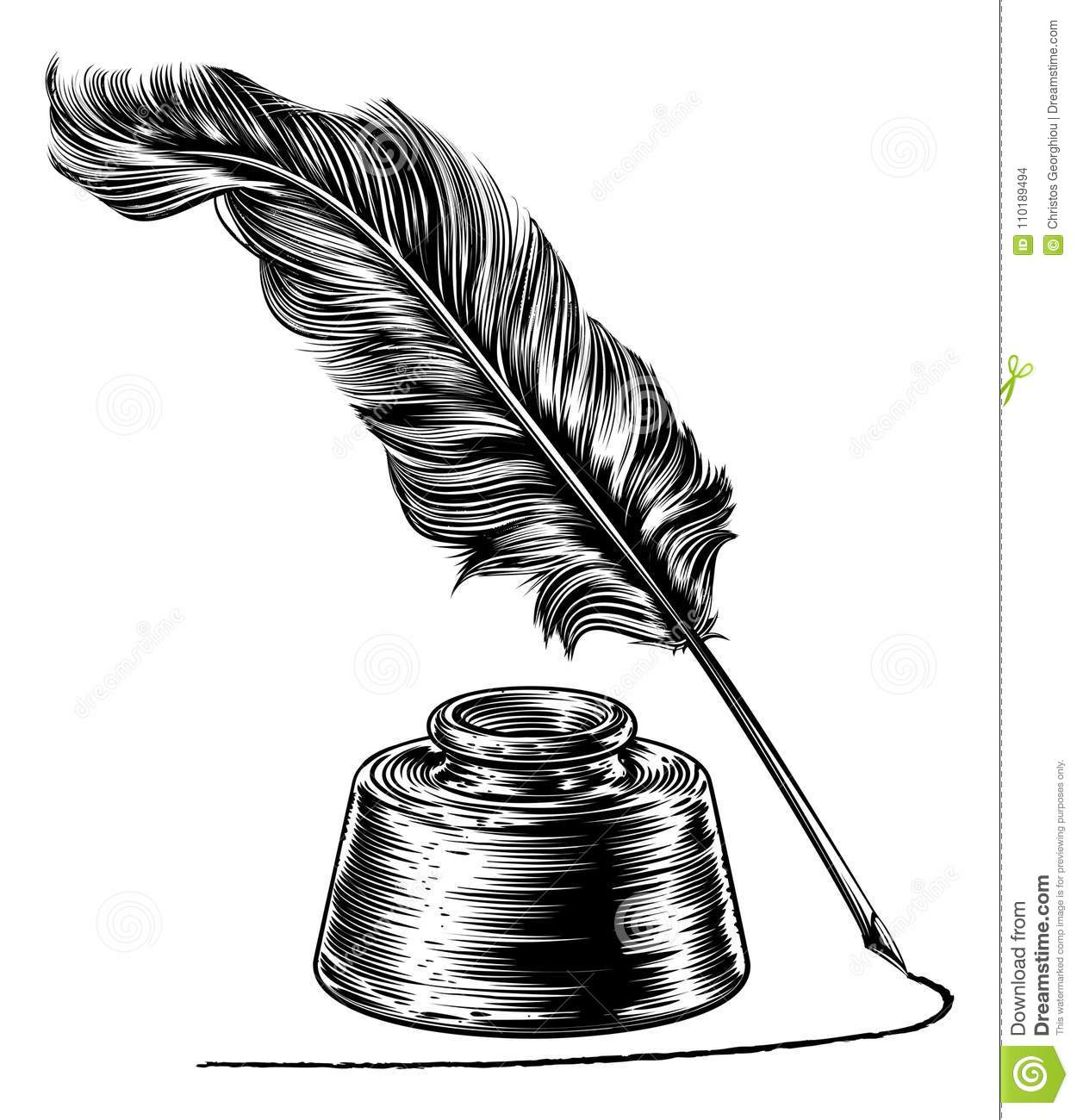 Quill And Inkwell Drawing Quill Cartoons, Illust...