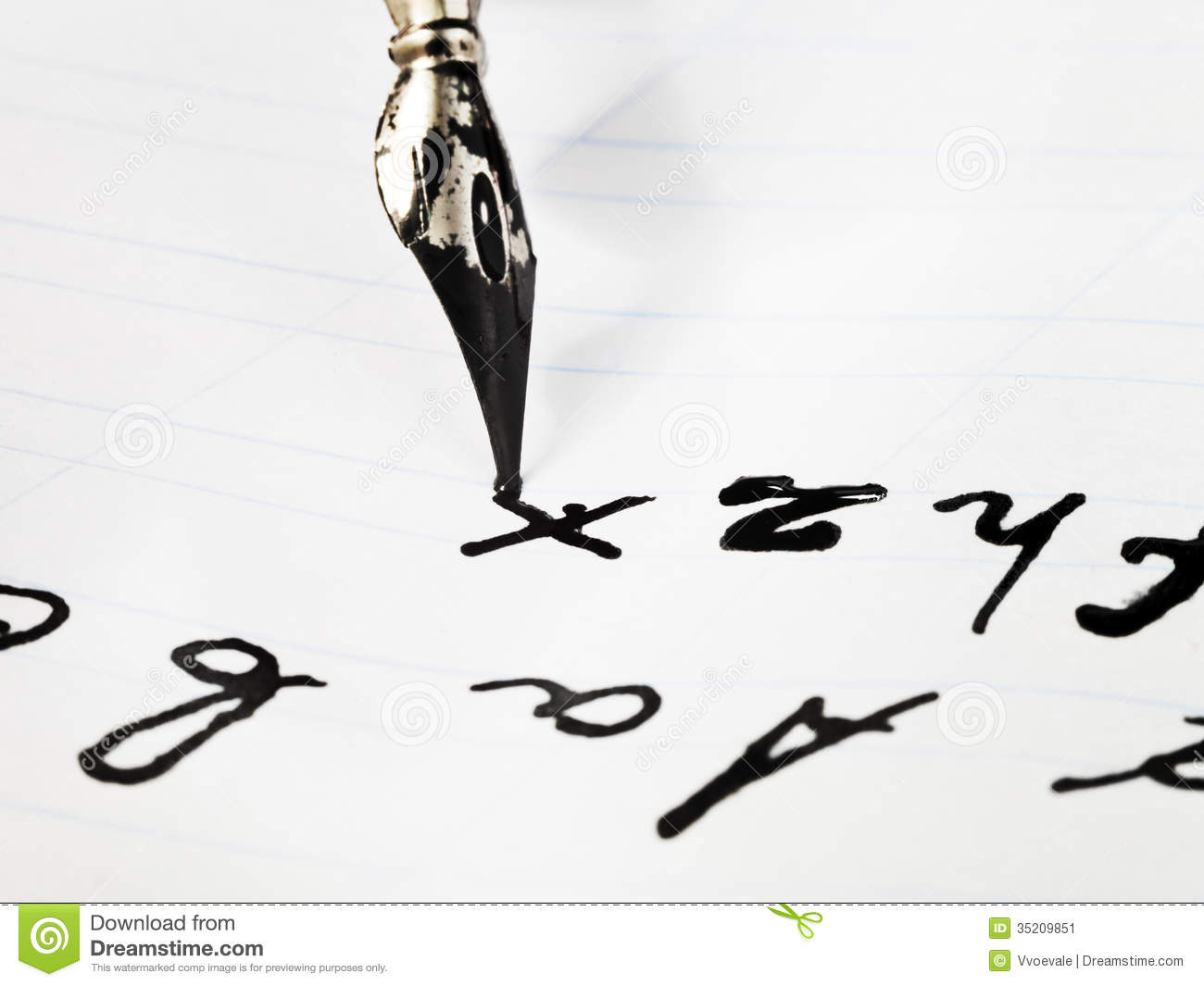 writing of set of letters by black ink nib stock image