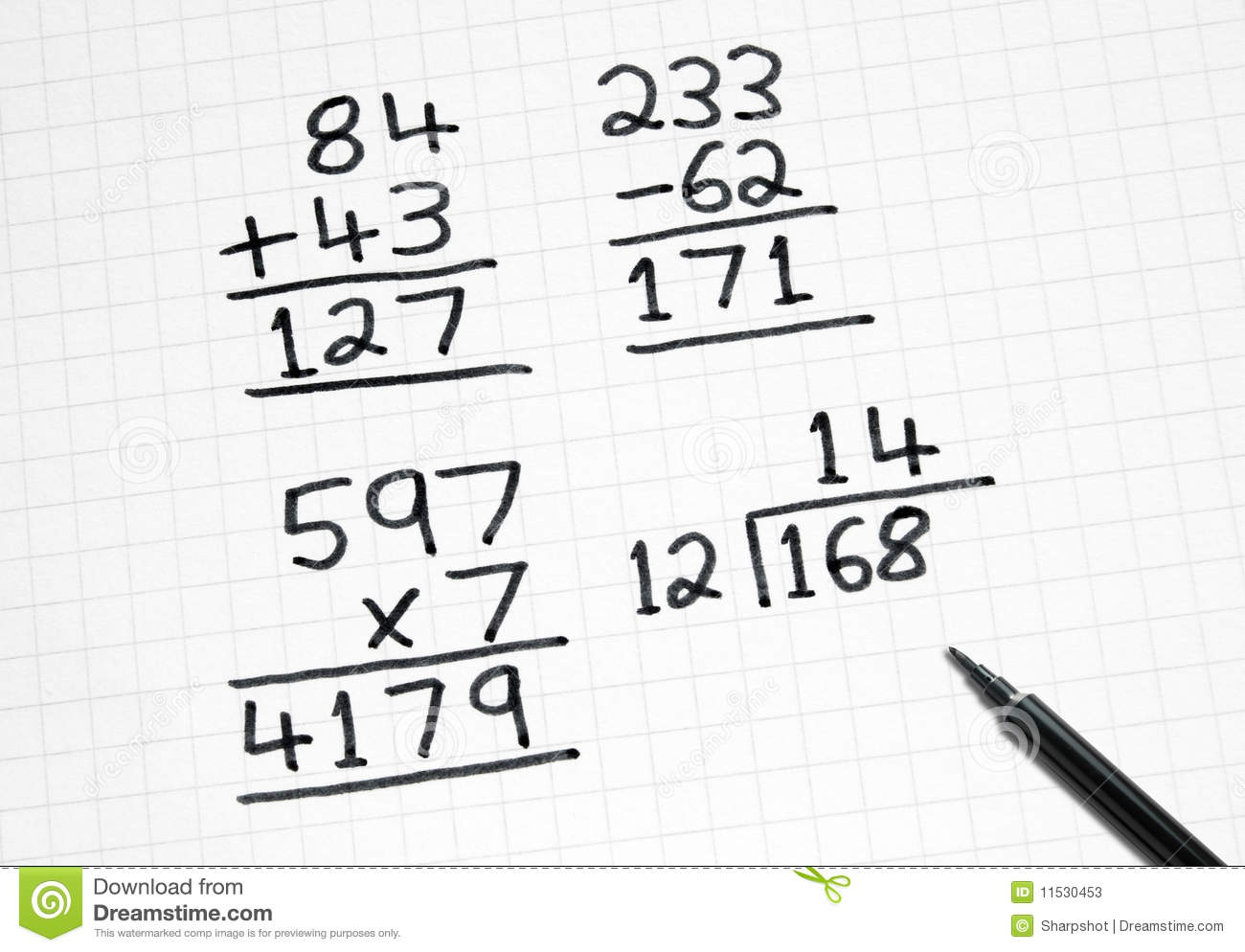 Writing Simple Maths Sums On Square Paper. Stock Image - Image of ...