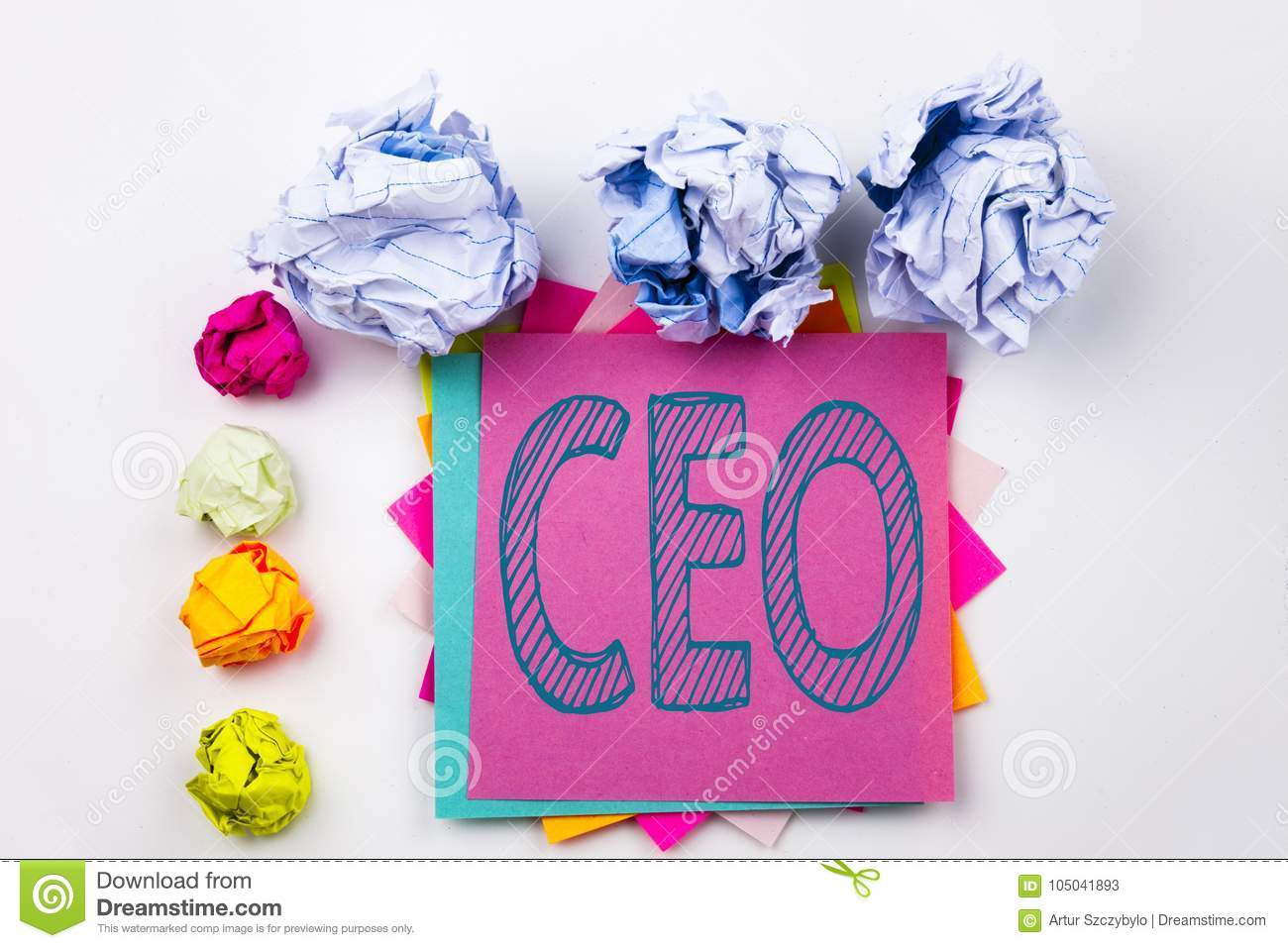 Writing Text Showing CEO Written On Sticky Note In Office