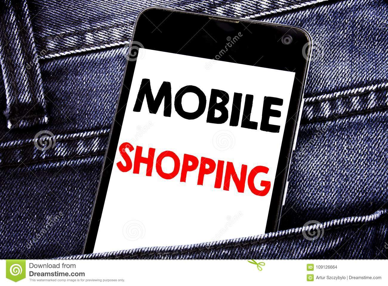 Writing text showing Mobile Shopping. Business concept for Cellphone online order written mobile cell phone with copy space in the