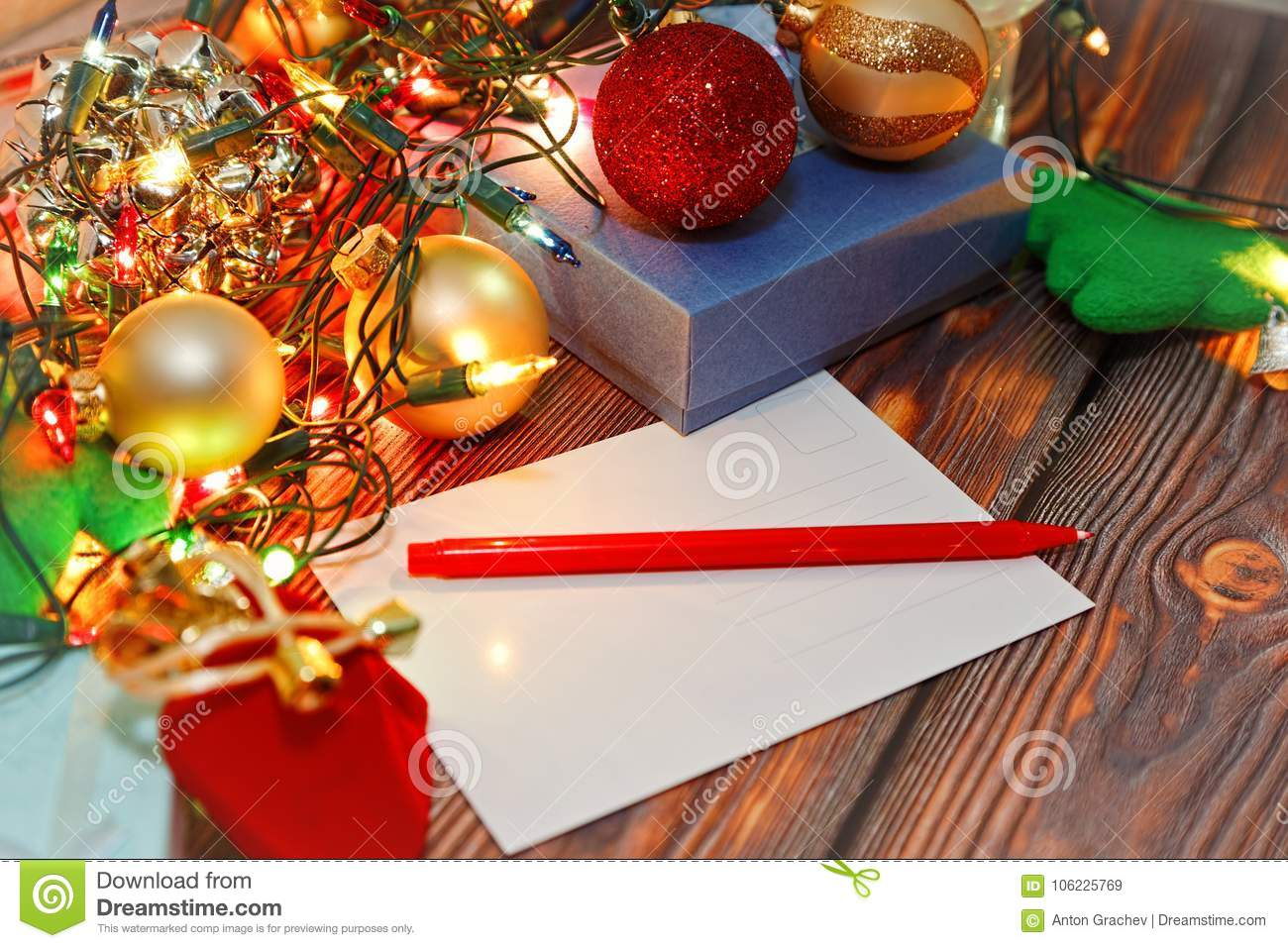 signing christmas cards concept