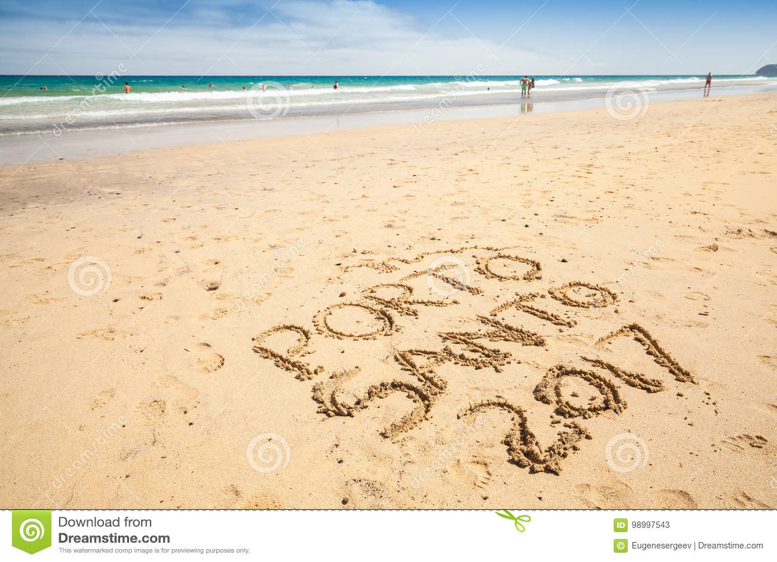 Writings On The Sand. Beach Of Porto Santo Island Stock Image ... b5ec06742db
