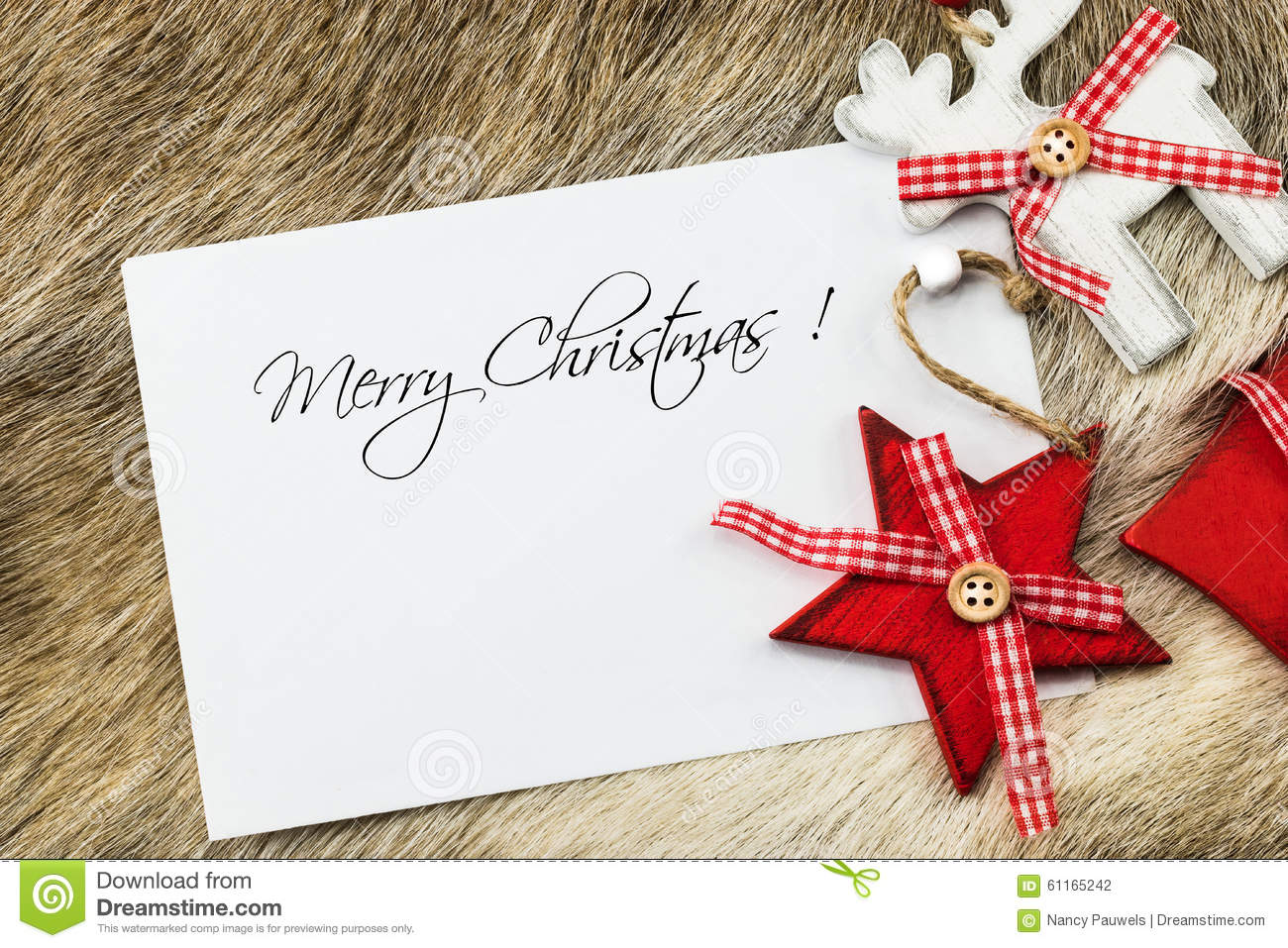 Holiday Background Or Greeting Card: Merry Christmas Wishes Card Stock Photo