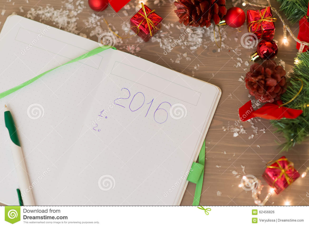 2016 Written At Notebook With Christmas Decorations Stock Photo ...