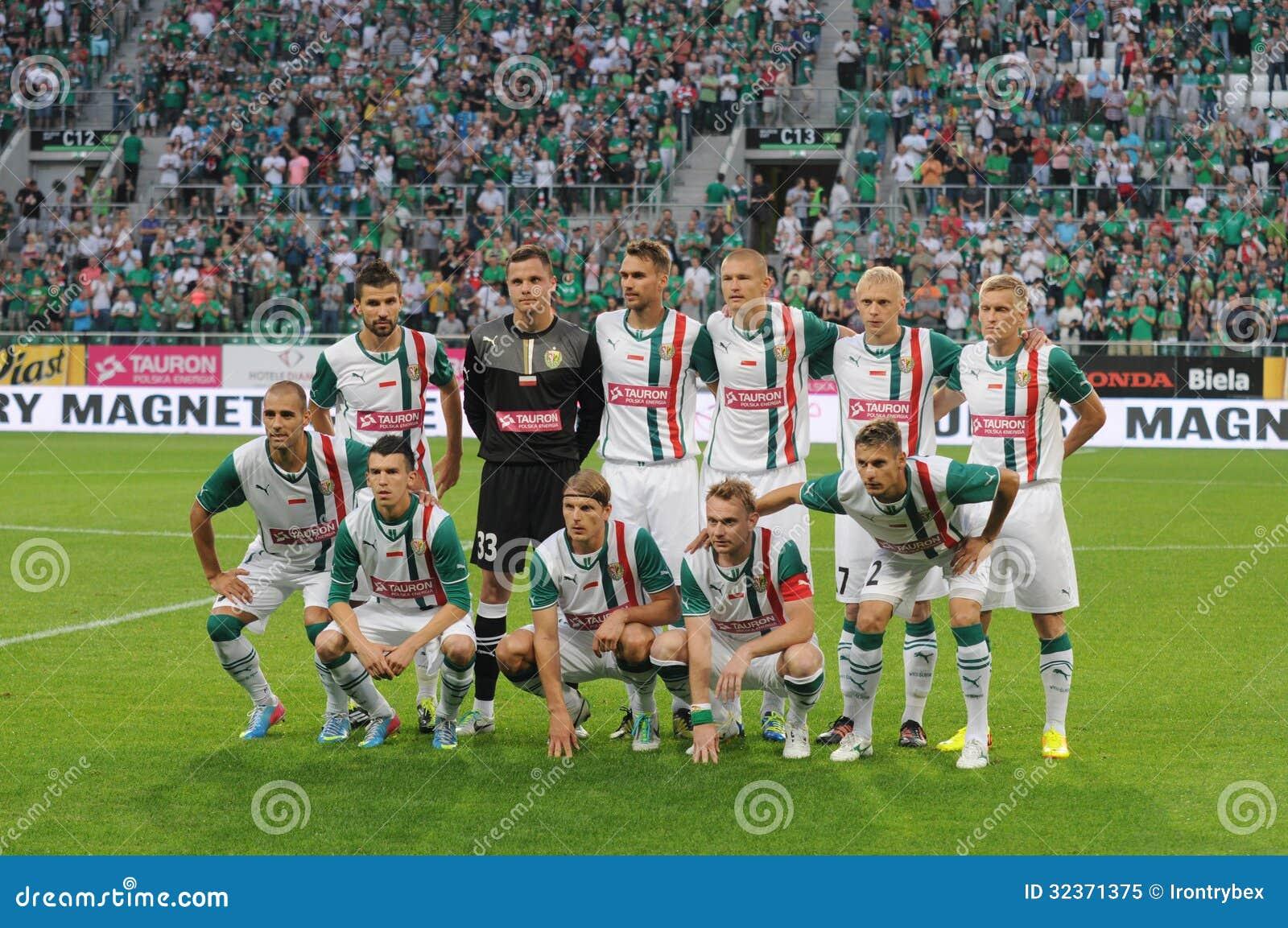 WROCŁAWSKI, POLSKA, Lipiec - 18: UEFA Europa liga, Slask Wrocławska drużyna, Slask Wrocławski vs Rudar Pljevlja na Lipu 18: , 2013