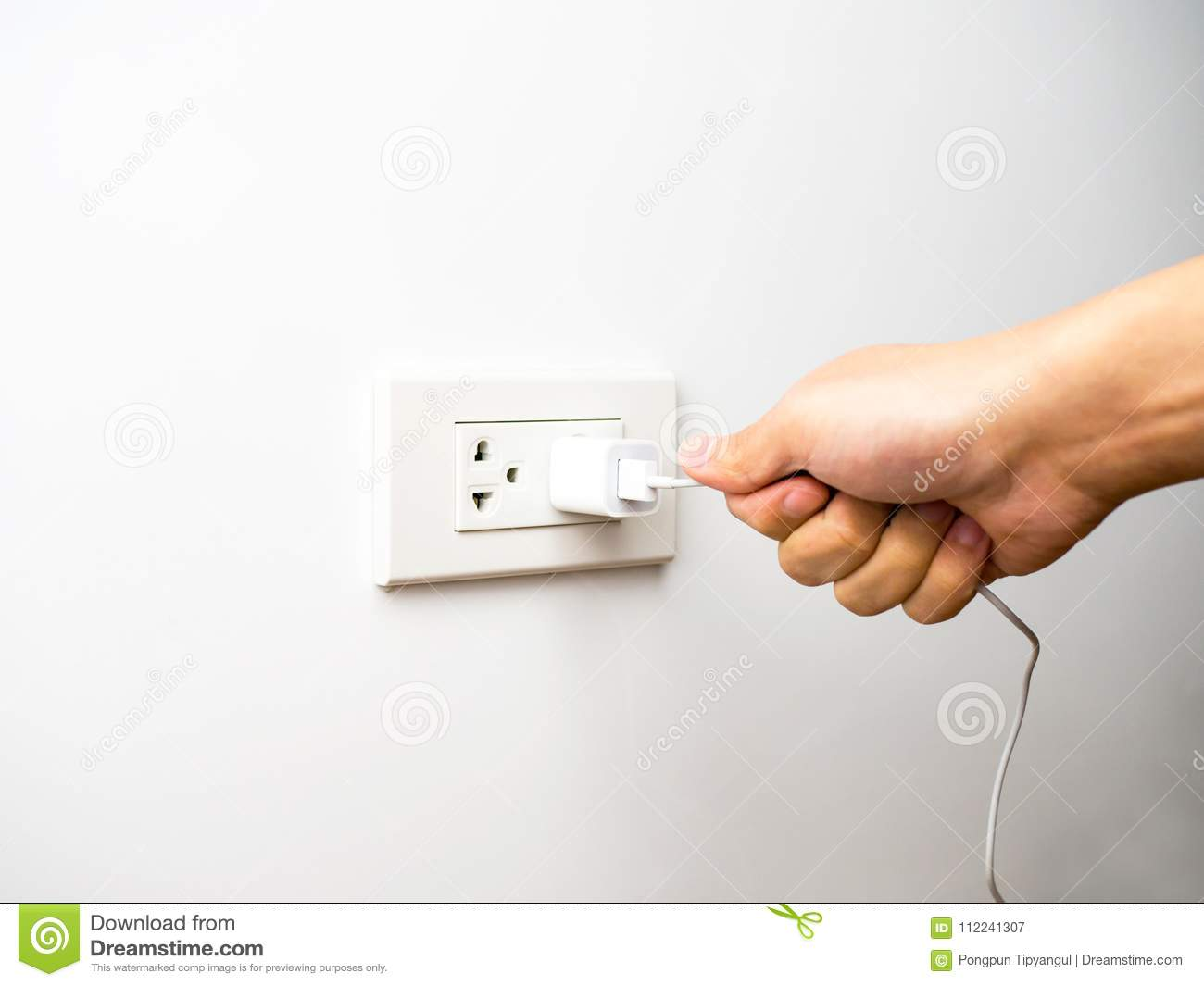 Wrong Way Pulling Plug Unplug From Socket By Wire Stock How To A Light Switch